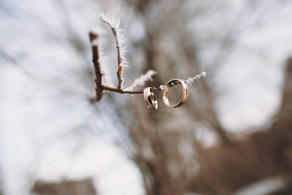 alliances mariage en hivers